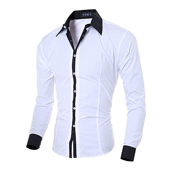 Other New Stylish  Men's Classic Shirts Leisure Long Sleeve Shirt-blanc à prix pas cher