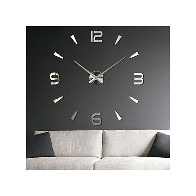 horloge murale design 3d silver horloges murales jumia maroc. Black Bedroom Furniture Sets. Home Design Ideas