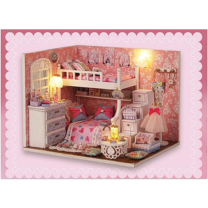 UNIVERSAL New Arrival Cuteroom DIY Wood Dollhouse Kit Miniature With Furniture Doll House Room Angel Dream Best Birthday Gift For Girls à prix pas cher