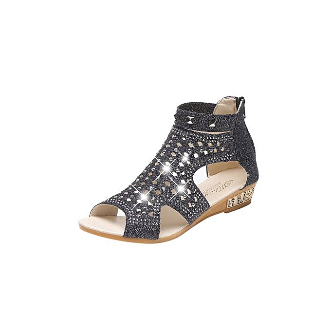 mode Featurouge Spbague été Ladies femmes Wedge Sandals Fish Mouth HolFaible Roma chaussures à prix pas cher