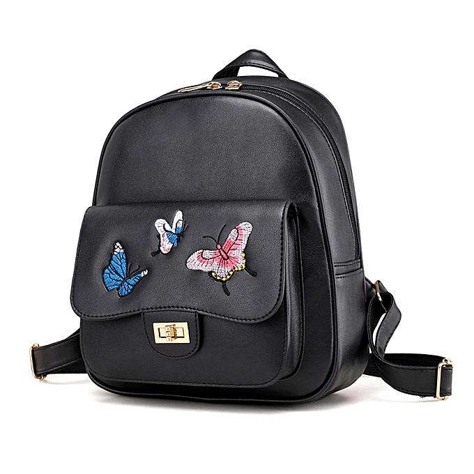 Fashion Singedan Shop 4 Sets femmes Girl Butterfly Embroidery  Backpack School Bag Shoulder Handbag  BK à prix pas cher