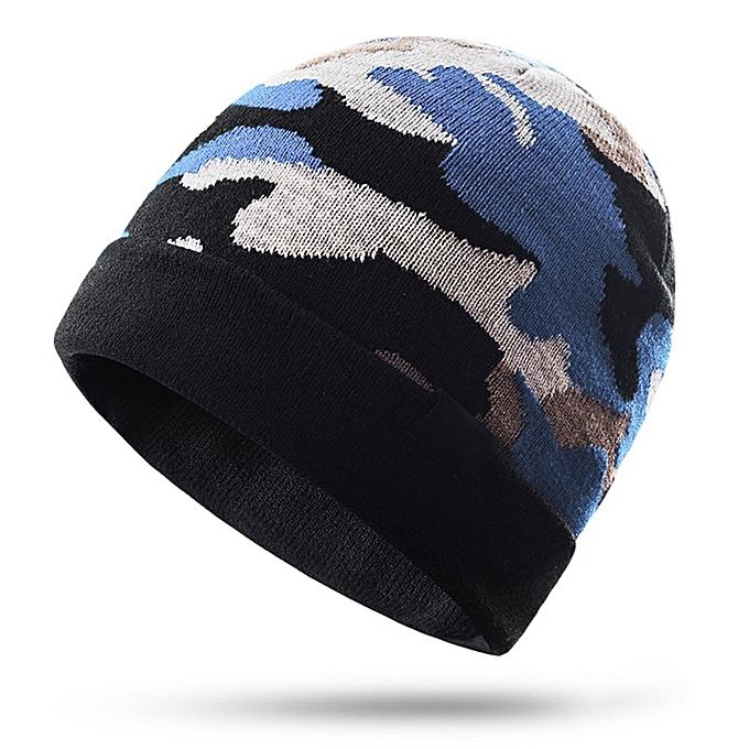 AONIJIE Men femmes Winter Cap Keep Warming Knitting Camouflage Warm Riding Snowboard Sports Knitted Hiking Cap Hat(Light bleu) à prix pas cher