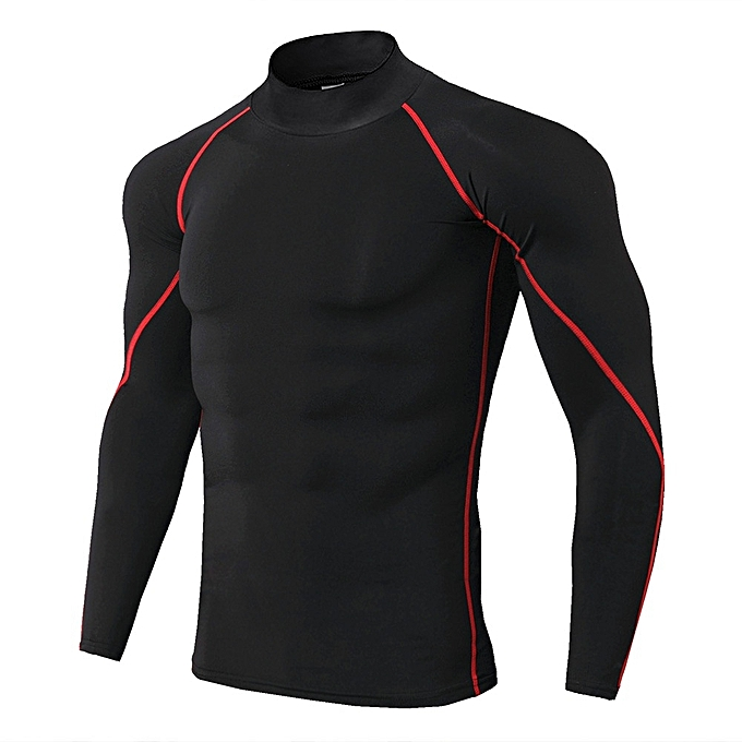 Other New Stylish Men's High Collar Tights Bodybuilding Tops Outdoor Sport Running T Shirt-TC56 à prix pas cher