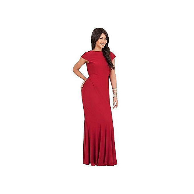 mode femme O Neck manche courted Robe Evening Robe Elegant Robe-rouge à prix pas cher