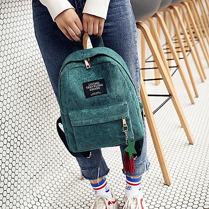 Fashion Wohommes Fashion Canvas Tassel School Bags Travel Backpack Bag GN à prix pas cher