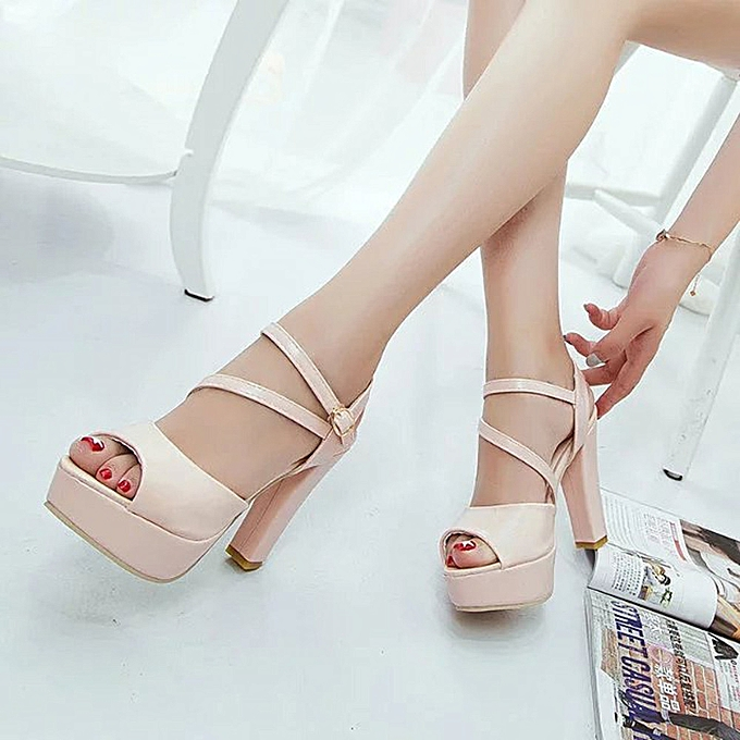 Fashion Fashion Fashion WoHommes  Solid Peep Toe Hollow Out Thin Heels Sandals High Heeled Shoes Dark Pink - à prix pas cher  | Jumia Maroc a7e743
