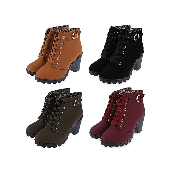 Fashion Stylish   Thick High Heel Heel High Ankle Boots-BLACK à prix pas cher    Jumia Maroc d2e207
