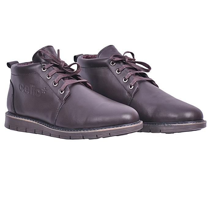 Celio Chaussures Hommes Bottines Celio Classe en Cuir - Marron à ... 90e394ef991