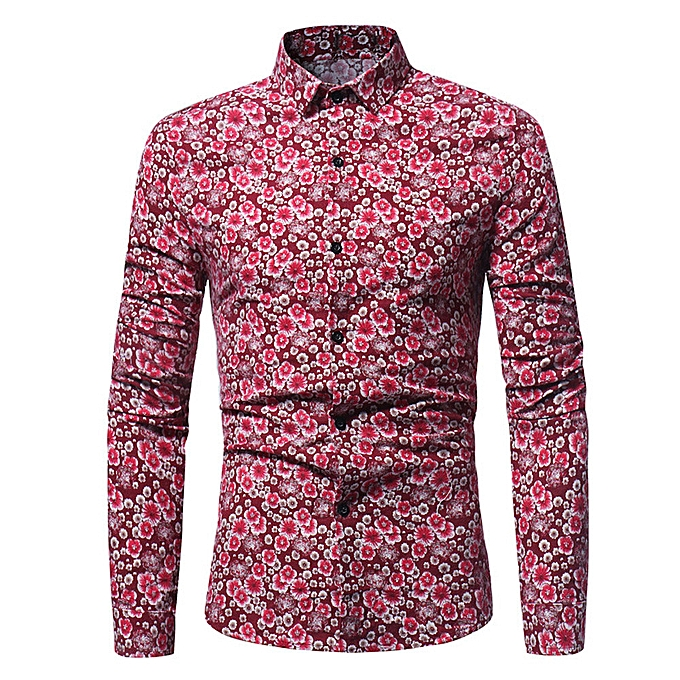 Fashion Man Retro Floral Printed Blouse Casual Long Sleeve Slim Shirts Tops RD XL à prix pas cher