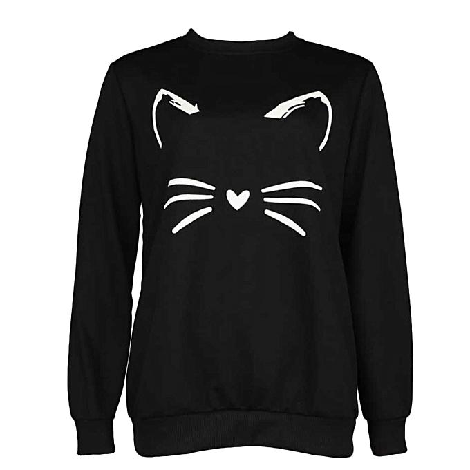 mode (Xiuxingzi) noir Round Neck Cute Sweatshirt for femmes à prix pas cher