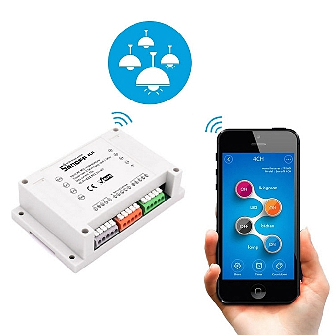 UNIVERSAL Sonoff  4CH R2 Rail Mounting Remote Control WiFi Smart Switch, Compatible with Alexa and Google Home, Support iOS and Android à prix pas cher