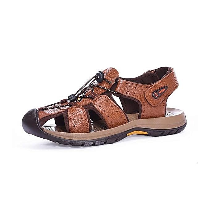 Fashion Fashion   Fashion  Genuine Leather Beach Sandals Outdoor Round Toe Flat Shoes-EU à prix pas cher  | Jumia Maroc 8705cf