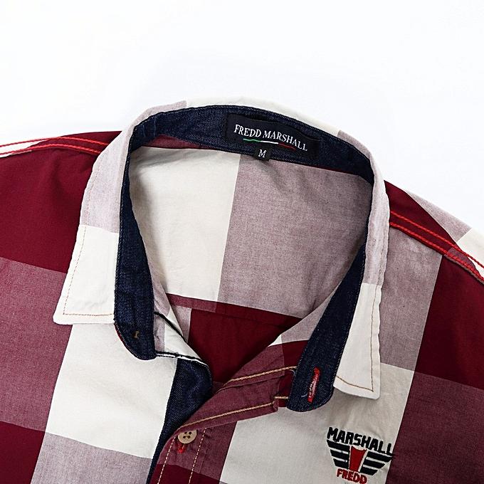 Generic Generic Hommes& 039;s Checked Shirt manche longue Non-Iron Décontracté chemisier Cotton Slim Fit Plaid Top à prix pas cher