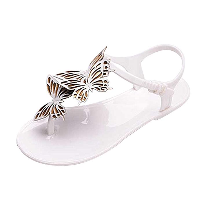 Generic Tcetoctre femmes Décontracté été plage papillon Flip Flops été Brief Hasp Flat Sandals -blanc à prix pas cher