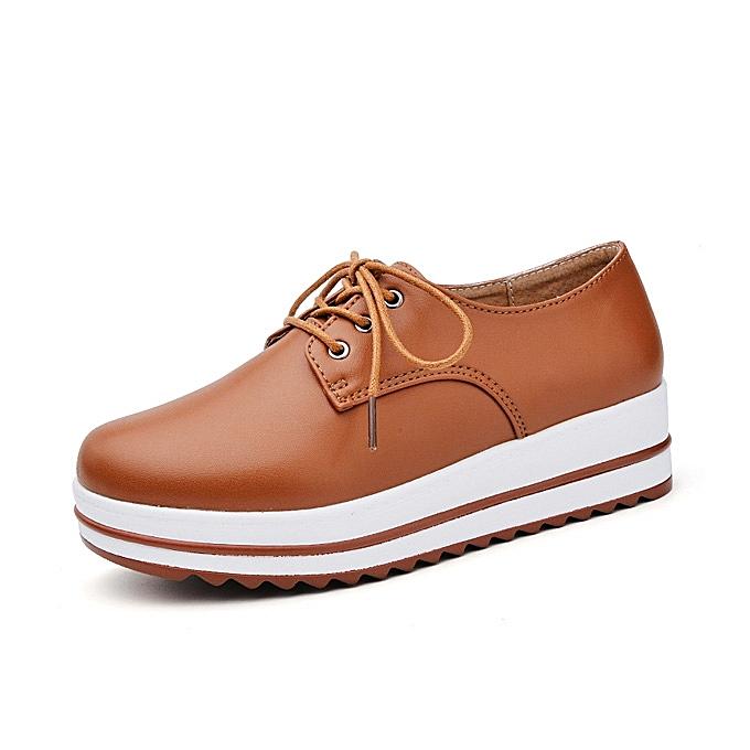 Fashion Lace Up Platform Heels baskets Round Toe Soft Sole chaussures à prix pas cher