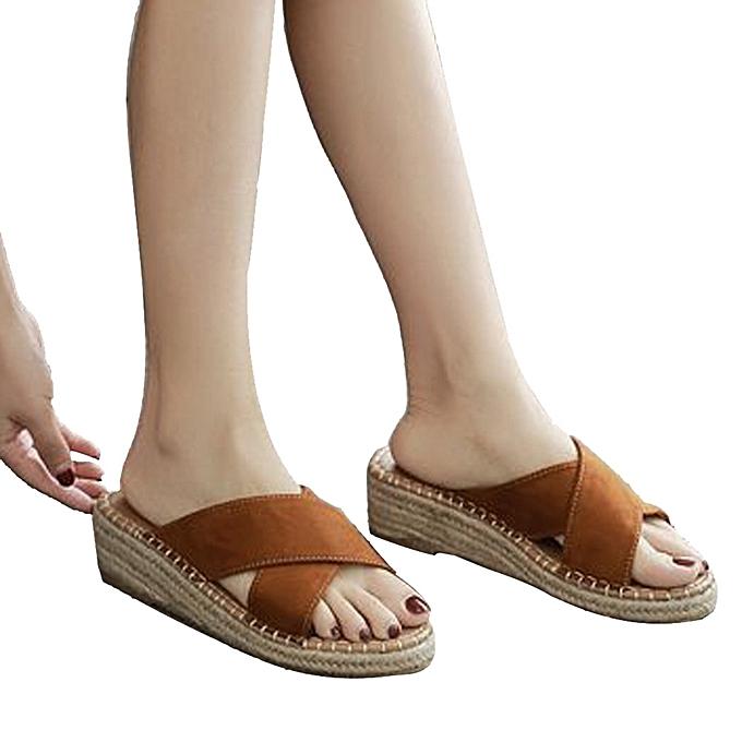 Fashion Sandals Fashion Summer WoHommes  Girl Sandals Espadrilles Sandals Fashion Wedges Beach Slipper -Brown à prix pas cher  | Jumia Maroc 31cf4f