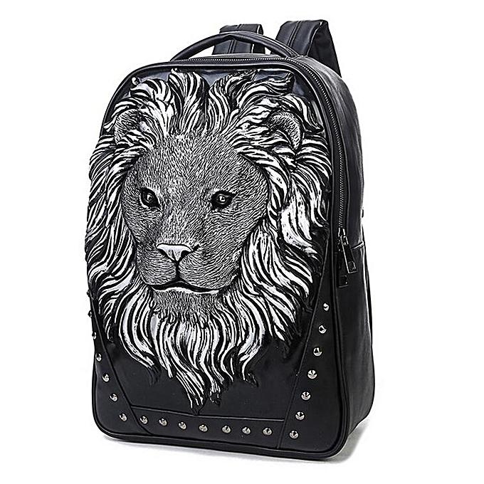 Generic Unisex Soft PU cuir sac à dos Lion Head Decoration Notebook Laptop à prix pas cher