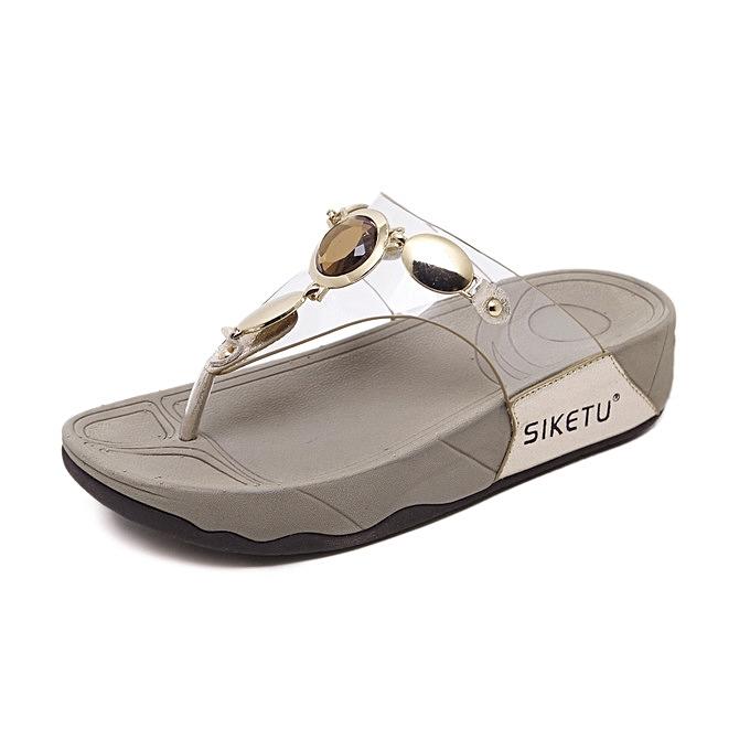 OEM nouveau arrivel Sale grand Taille femme slippers mode Sandals Female Flip Flops Thin talons chaussures Décontracté comfortable slippers -or à prix pas cher