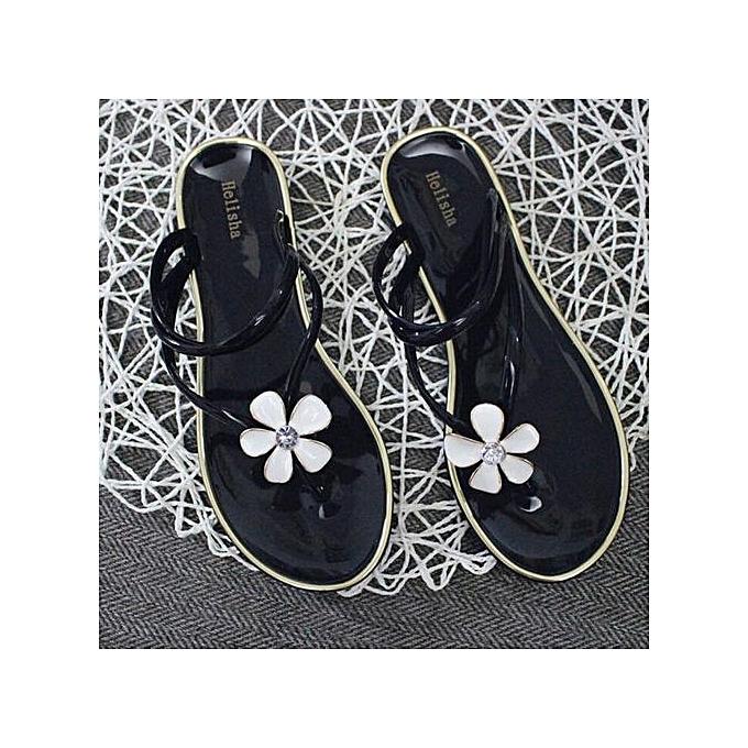 mode Xiuxingzi Female Plastic plage chaussures Jelly Couleur FFaibleer Flat Décontracté Sandals Slipper BK 38 à prix pas cher