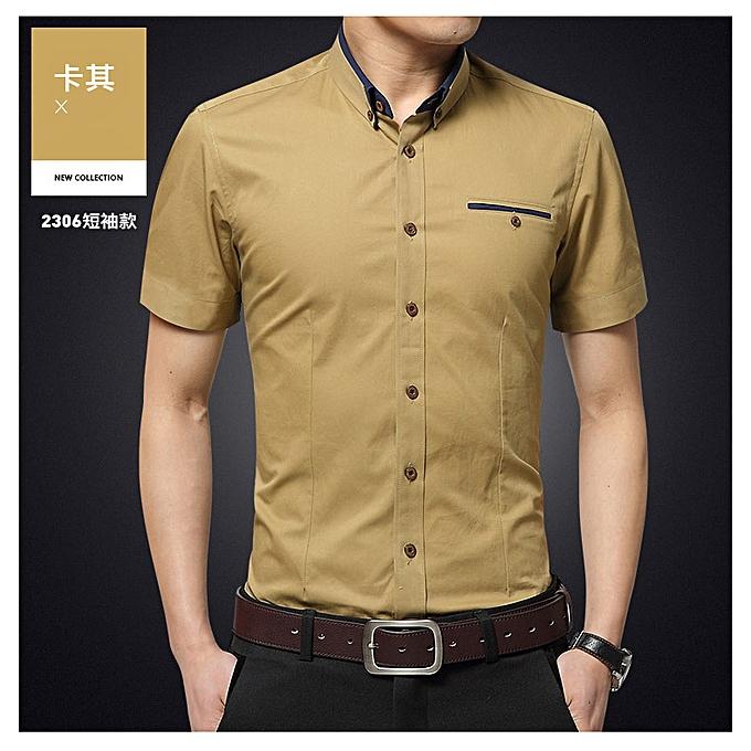 Fashion Fashion hommes business youth slim trend thin section casual short-sleeved shirt khaki à prix pas cher