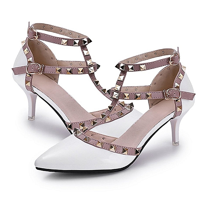 Generic TB All-match Rivet Girls High-heeled chaussures Breathable Middle Hollow-out Sandals-blanc à prix pas cher