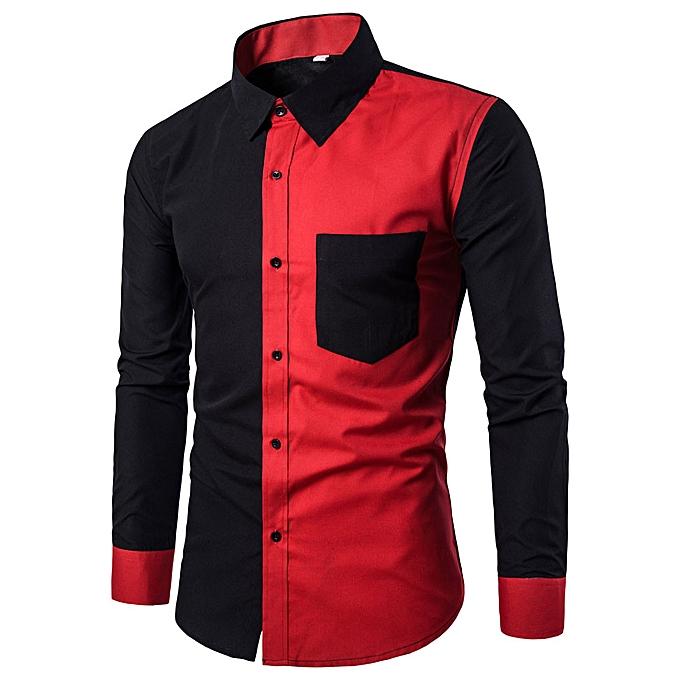 Fashion Mens Fashion Casual Slim Fit Stylish Shirts Long Sleeve Shirt Blouse BK XL à prix pas cher