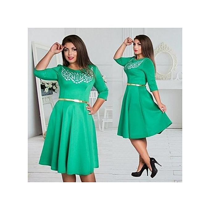 Fashion Elegant Office femmes Couleurblock Casual Dress 2017 Big Taille L - 6XL Bodycon Dresses Plus Taille  Pencil Dress-vert à prix pas cher