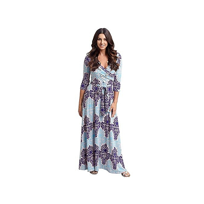 Fashion femmes Dress Sexy Deep V Neck Beach Casual Tunic Vestidos Boho Floral Printed Pocket Long Maxi Dresses-beige à prix pas cher