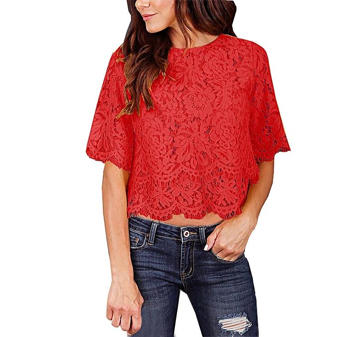 Generic Generic mode femmes Décontracté Tank Top chemisier manche courte O Neck Print Lace Top T-Shirt  A1 à prix pas cher