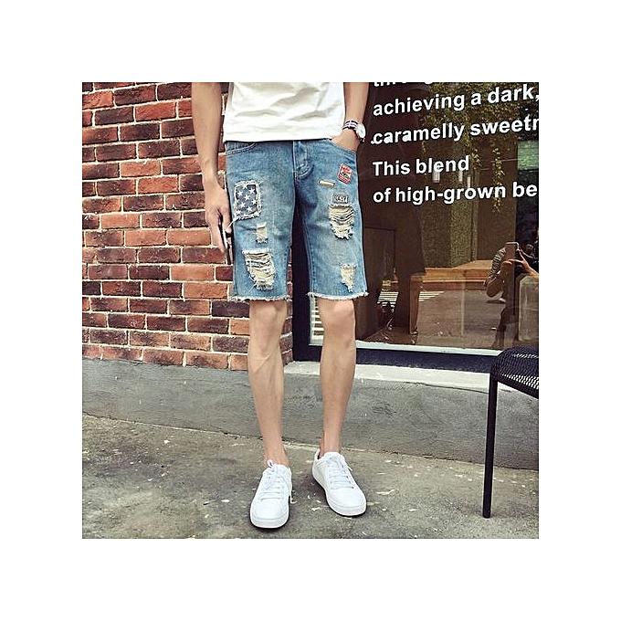 OEM Large Taille Summer Badge Men's 5-point Jeans Thin Hole Embroidery Flower Pants Teen Shorts Pants -bleu à prix pas cher