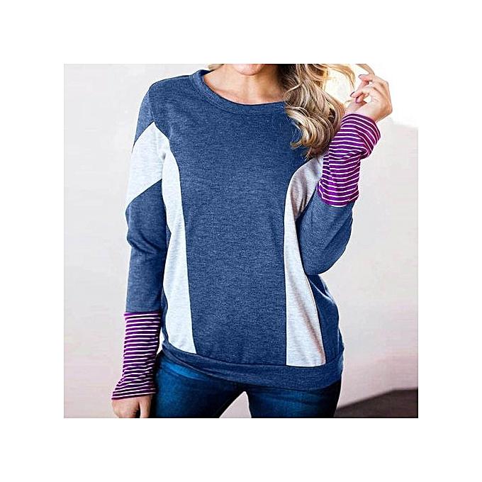 Fashion Xiuxingzi femmes Autumn Fashion Striped Patchwork Long Sleeve Blouse Tops Clothes T Shirt à prix pas cher