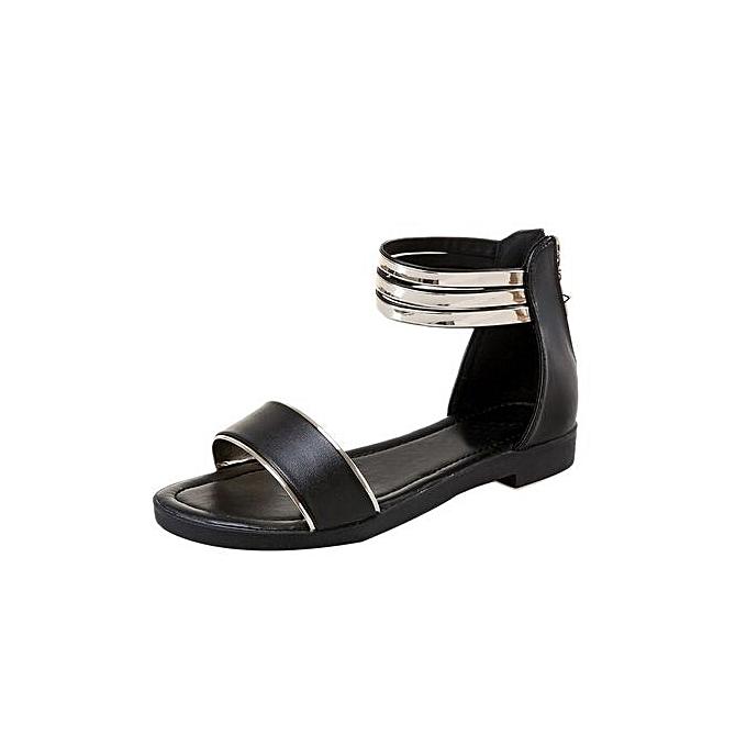 Fashion Jiahsyc Store Wohommes Summer Sandals chaussures Peep-toe Low chaussures Rohomme Sandals Ladies Flip Flops-noir à prix pas cher
