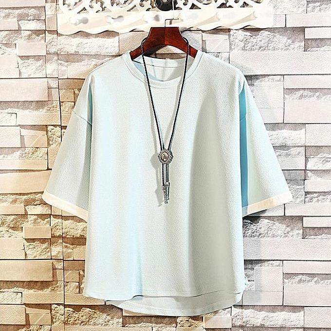 mode Hommes& 039;s Décontracté grand Taille Loose Solid manche courte O-Neck T Shirts hauts chemisier à prix pas cher