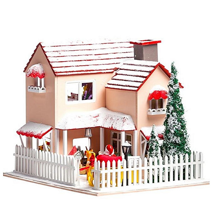 UNIVERSAL Hoomeda DIY bois Dollhouse Miniature With LED Furniture Cover Christmas Eve- à prix pas cher