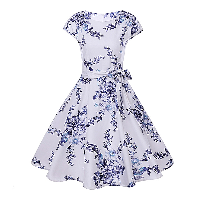 Fashion quanxinhshang femmes Vintage Bodycon Short Sleeve Casual Retro Evening Party Prom Swing Dress à prix pas cher