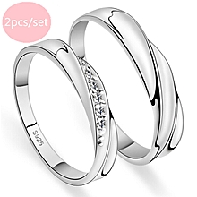 2PCs Bagues pour Femmes Couple Ring Jewellry 925 Silver Adjustable Ring E004 f6aba0542bbd