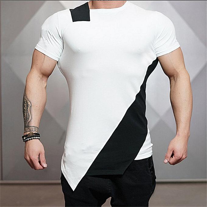 mode (Xiuxingzi) Man Body Engineers Bodybuilding And Fitness Crime manche courte T-shirt WH L à prix pas cher