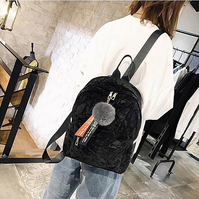 Fashion Tcetoctre Wohommes Fashion Plush Ball Shoulder Bags Backpack Travel Rucksack-noir à prix pas cher