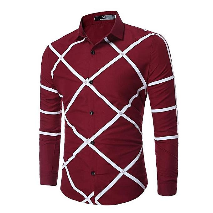 Fashion New Men's Geometric Printing Fashion Casual Long Sleeve Lapel Shirts Wine rouge à prix pas cher