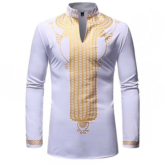 Other New Stylish Men's Long Sleeve Shirt African Turkish Style Stand Collar Shirt-blanc à prix pas cher
