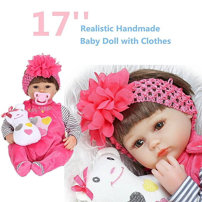 UNIVERSAL 17'' Silicone Vinyl Reborn Handmade   Doll Realistic Lifelike nouveauborn Girl à prix pas cher