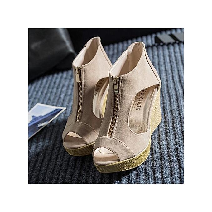 mode Hiamok_femmes chaussures été Sandals Décontracté Peep Toe Platform Wedges Sandals chaussures KH 37 à prix pas cher