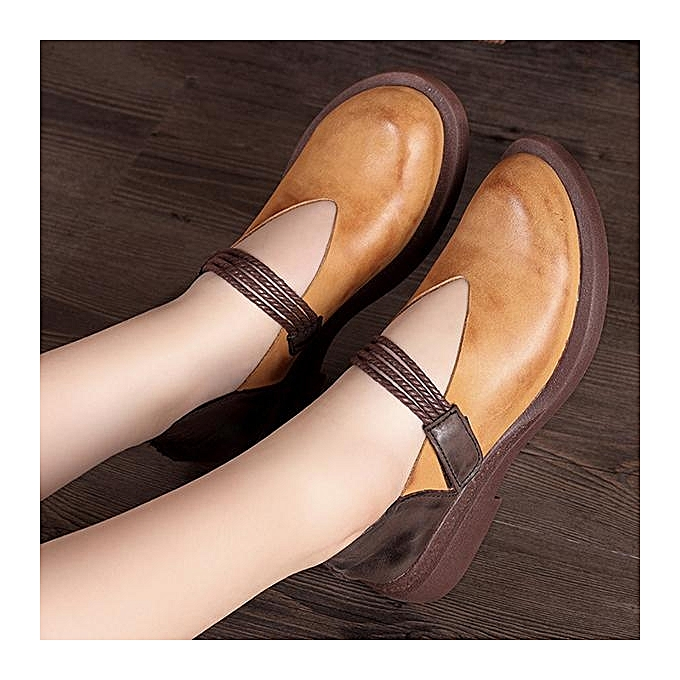 Fashion SOCOFY Casual Hook Loop Slip On Splicing Soft Soft Splicing Flat Leather Shoes à prix pas cher  | Jumia Maroc 630098