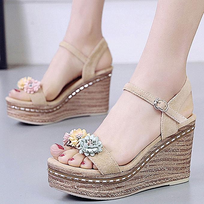 Fashion jiahsyc store Wohommes Summer Flowers Platform chaussures Sandals Open Toe Wedges Heel Casual chaussures à prix pas cher