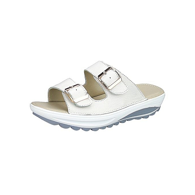 Fashion Blicool Shop femmes Sandals Popular Summer femmes Casual Sandals Beach Slipper Peep Toe  Platform Soft chaussures-blanc à prix pas cher    Jumia Maroc