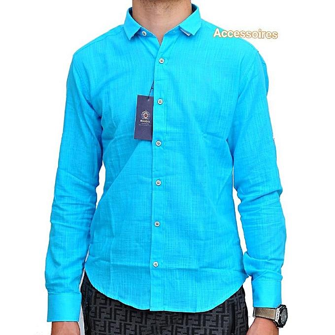 Generic Chemise homme turquoise avec col mao à prix pas cher