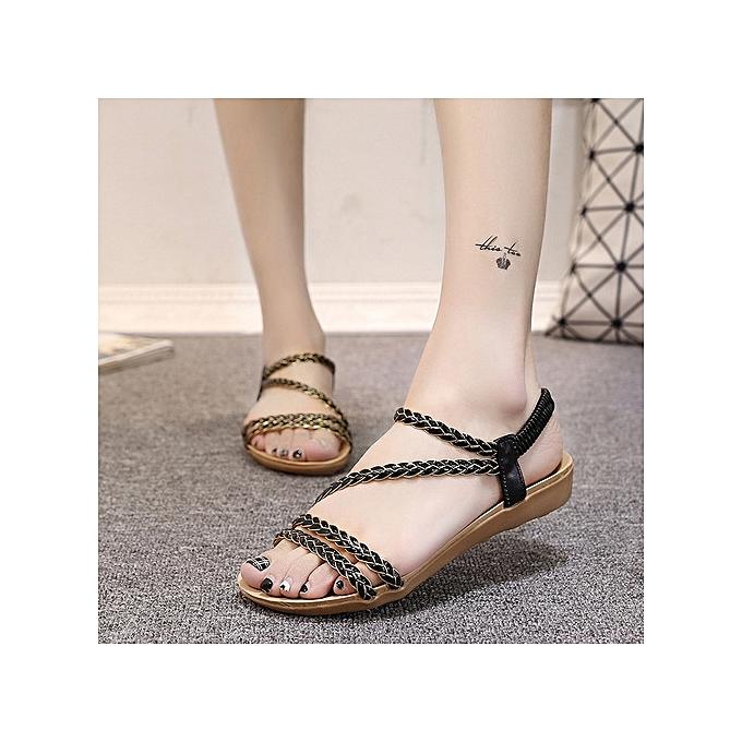 OEM Large Taille Wohommes chaussures summer flat sandals braided sandals femmes noir à prix pas cher