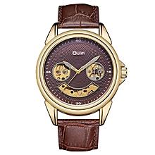 48ff23c7447f5 Oulm تصميم فريد من نوعه رجل الساعات الميكانيكية العلامة التجارية الفاخرة  ذكر حزام جلد طبيعي مشاهدة الرجال