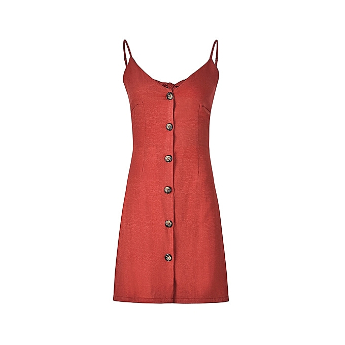 OEM New style New style Solid Couleur Strap V-neck Back Strap Single-Breasted Dress-rouge à prix pas cher