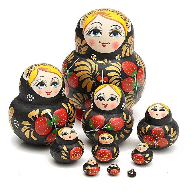 Autre Happy Island 10 en 1 peint à la main en bois Matryoshka jouets de nidification russes empilables décor de poupées à prix pas cher